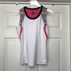 Bolle | White Pink Black Stripe Tennis Tank